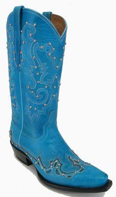 Women's New Leather Beautiful Cowgirl Western Rhinestone Boots Snip Blue  #Handmade #CowboyWestern