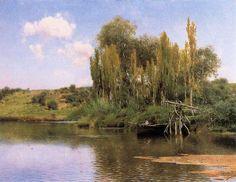 Emilio Sánchez Perrier - Orillas con noria fluvial en el río Guadaira