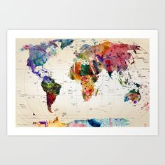 Buy map Art Print by mark ashkenazi. Worldwide shipping available at Society6.com. Just one of millions of high quality products available.