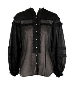 Long-sleeved pure cotton shirt, mandarin collar Ruffled details, wide sleeves with stretch cuffs, pearl buttons cotton Mandarin Collar, Black Tops, Leather Jacket, Pearls, Long Sleeve, Sleeves, Cotton, Jackets, Shirts