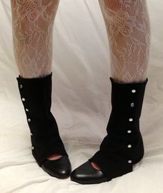Black Spats with Pearl Buttons by seamstressofsteam on Etsy, $28.00