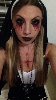 #possessed #nun #naughtynun #bleedingeyes #scary #halloween #halloweenmakeupideas #religiouscostumeideas