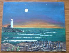 Landscape Original Painting Lighthouse Acrylic Painting 20 x 16 Unframed via Etsy