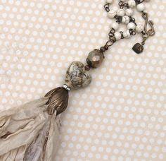 Valentine Bohemian Sari Silk Tassel Necklace Beige by gleegallery