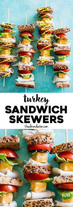 These tasty, portable Turkey Sandwich Skewers are perfect for lunches or a picnic. They're a deconstructed turkey sandwich, and therefore mess-free! Fruit Kebabs, Kabobs, Skewers, Turkey Sandwiches, Wrap Sandwiches, Clean Eating Recipes, Cooking Recipes, Fingerfood Party, Football Food