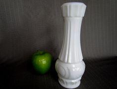 "White Milk Glass Vase Vintage Floral Vase White Wedding Decor Vase VintageTable Display Vase 9 1/4"" heavy white vase circle medallion design by RoomInteriors on Etsy"