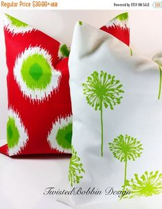 PILLOW SALE. White Green  & Red Pillow by TwistedBobbinDesigns
