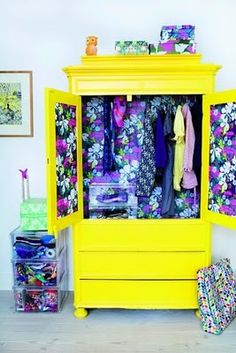 I love wallpaper inside of drawers and wardrobes   #creative #homedecor #trend #vogue #finsahome #cool #decor #wardrobe #closet #idea #art #modern #furniture #art #renew #reuse