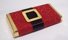 Santa Bar~recovered in glitter paper, black ribbon belt & gold belt