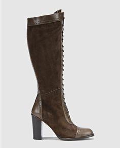 Botas de tacón alto de mujer de  piel marrones