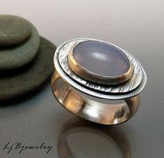OOAK Sterling Silver Ring Blue Chalcedony Cabochon by LjBjewelry, $112.00