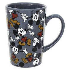 Mickey Mouse & Minnie Mouse Gray Mickey Mouse Mug Cozinha Do Mickey Mouse, Mickey Mouse Mug, Mickey Mouse Kitchen, Disney Kitchen, Disney Dishes, Disney Cups, Disney Mickey, Disney Furniture, Grey Mugs