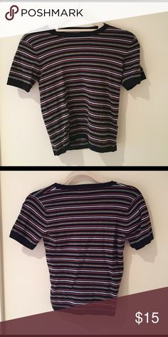 Brandy Melville striped sweater cropped  tee Only worn twice, excellent condition Brandy Melville Tops Crop Tops