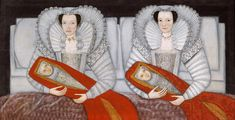 The Cholmondeley sisters and their swaddled babies. c.1600-1610