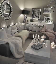 60 affordable apartment living room design ideas on a budget 52 Living Room Decor Cozy, Living Room Decor Colors Grey, Decorating Ideas For The Home Living Room, Grey Living Room Furniture, Home Decor Ideas, Black Sofa Living Room, Manly Living Room, Cozy Home Decorating, Sitting Room Decor