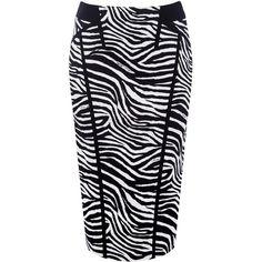 Karen Millen Zebra Print Skirt ($110) ❤ liked on Polyvore