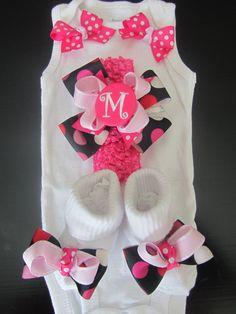 Baby Girl Monogram Clothing Gift Set/ Baby Girl Monogram Going Home Set/ Monogram Take Home Set (Black and Pink Polka Dot) etsy by bowtiquemama $35.00