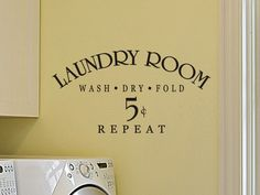 Laundry Room Wall Quote Decal - Laundry Room wash, fold, dry, repeat by vgwalldecals on Etsy