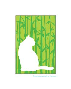 Cat Silhouette Art  Custom 5x7 Print by TheArgyleAardvark on Etsy, $11.00