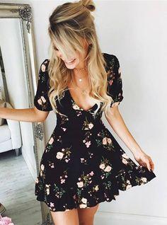 Women Mini Boho Floral Dress Summer Beach Short Sleeve V neck Evening Party bohemian beach dress 2018 Summer style - Summer Dresses Dresses Short, Casual Summer Dresses, Spring Dresses, Cute Dresses, Maxi Dresses, Dress Summer, Awesome Dresses, Elegant Dresses, Wedding Dresses