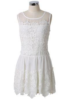 Crochet Mesh Chiffon White Dress