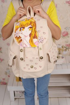 wholesale Fashion canvas backpack pattern casual painted bags M-YC-CB067
