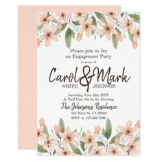 #Watercolor Flowers. Spring Engagement Party. Card - #engagement #party engagement partywedding showerwedding