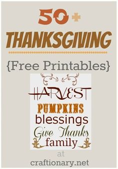 Thanksgiving ideas free printable...
