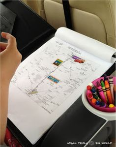Small Family Big World: Traveling with Kids - Car Ride Tips and Games For Kids Ages 4 and 2 I like the map with stickers and the sewing cards - not so sure about the musical instruments!