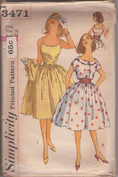 889d4ab064 Simplicity 3471 Vintage 60 s Sewing Pattern SIZZLING Rockabilly Scoop Neck  Sundress