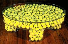 Yellow Tennis Table by Ed Massey but with baseballs instead