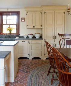 Designing a New Country Kitchen - Old House Journal Magazine Brick Floor Kitchen, Exposed Brick Kitchen, New Kitchen, Kitchen Decor, Kitchen Ideas, Old Country Kitchens, Kitchen Wood, Kitchen Towels, Awesome Kitchen
