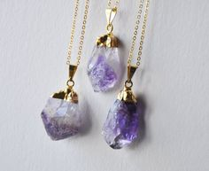 Amethyst Necklace Gold Dipped Amethyst Gold par FawningInLove