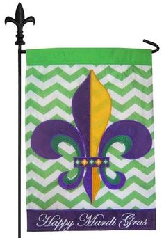 Mardi Gras garden flag with a classic style purple, green and gold fleur de lis against a contemporary, lime green and white chevron backdrop that is beautifully accented with a purple bottom border e