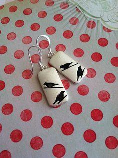 Blackbird+earrings+by+sunnyanddelilah+on+Etsy,+$16.00