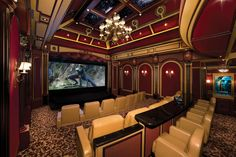 Basement Movie Theater Decorating Ideas For Basement Home Theater Home Improvement Tips Home Movie T Home Cinema Room, Home Theater Decor, At Home Movie Theater, Home Theater Rooms, Home Theater Design, Home Theater Seating, Theater Seats, Attic Apartment, Attic Rooms