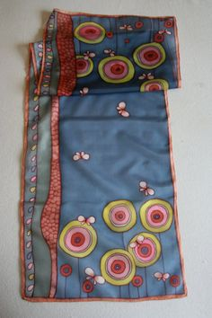Handpainted silk scarf blue yellow red colors made to di SilkHome