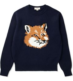 Ugh, I am IN LOVE with MAISON KITSUNE all of a sudden. If only I had the $$$ ...  MAISON KITSUNE - Navy Fox Head Pullover