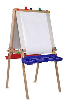 Melissa & Doug Deluxe Wooden Standing Art Easel (Arts & Crafts, Chalkboard, Dry-Erase Board, H × W × L , Great Gift for Girls and Boys - Best for 5 Year Olds and Up) Painted Cups, Painted Trays, Lego Sets, Easels For Sale, Paper Roll Holders, Art Easel, Wooden Easel, Wooden Art, Plastic Trays