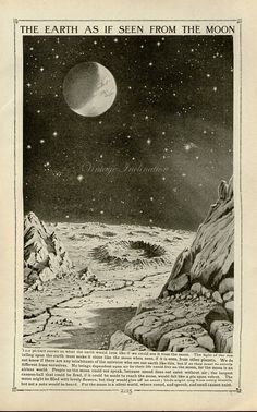 Vintage 1910 Antique Earth Seen From Moon by VintageInclination, $21.50