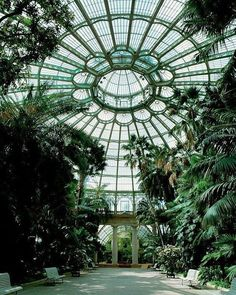 """Landscape Gardeners Are Like Outside Decorators! Victorian Greenhouses - the dome of the Royal Greenhouse of Laeken, Brussels.…"""" - the gothic victorian style. Victorian Greenhouses, Victorian Conservatory, Conservatory Garden, Slytherin Aesthetic, Glass House, Interior And Exterior, Palace Interior, Kitchen Interior, Beautiful Places"""