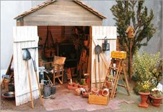miniature scene for dollhouse garden - shed with tools