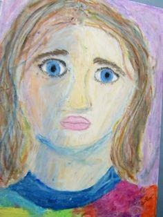 Oil Pastel Self-Portraits