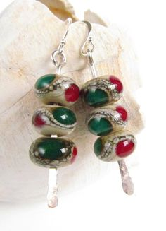 Lampwork Earrings Handmade Christmas Colors Red and by Harleypaws, $25.00