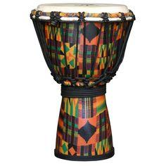 The Drum Works Kente Cloth Kids Djembe Drum