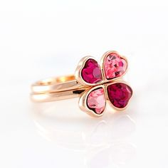 Fashion Pink and Rose Crystal Leaf Colver Women's Ring