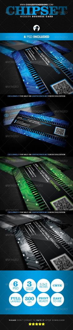 Chipset Modern - Business Card - #Creative Business Cards Download here: https://graphicriver.net/item/chipset-modern-business-card/2805590?reff=classicdesignp
