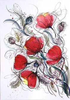 Red poppies wall art flower painting Original art artwork