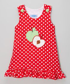 http://www.zulily.com/invite/vhanson979 Look at this #zulilyfind! Red & White Polka Dot Apple Jumper Dress - Infant & Toddler #zulilyfinds