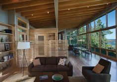 Seattle architect Nils Finne has redefined the coastal home, taking it from rustic to rich in this lake cabin design – a beauty on Lake Superior at Eagle Harbor, at. Small Apartment Design, Small Apartments, Wooden Partition Design, Cabin Design, House Design, Concept Ouvert, Modern Family Rooms, Modern Room, Modern Living